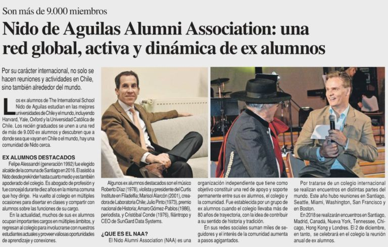 Nido Alumni Association Featured in La Segunda
