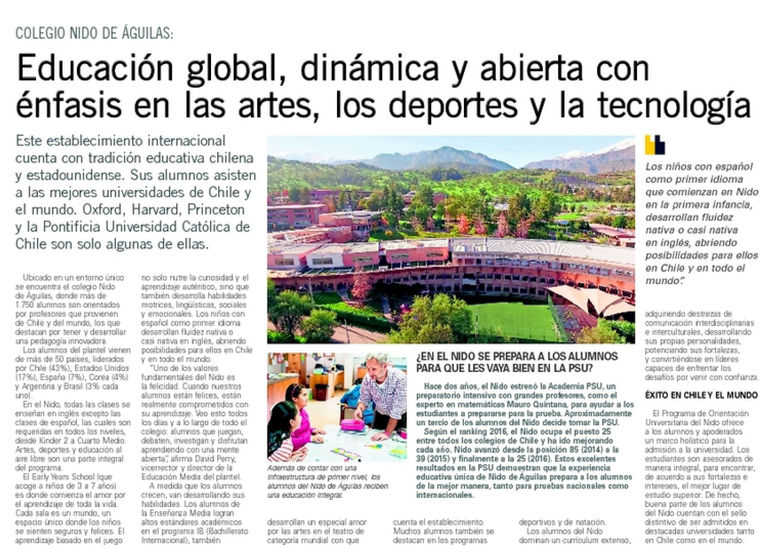 NIDO'S EDUCATIONAL PROGRAM FEATURED IN EL MERCURIO
