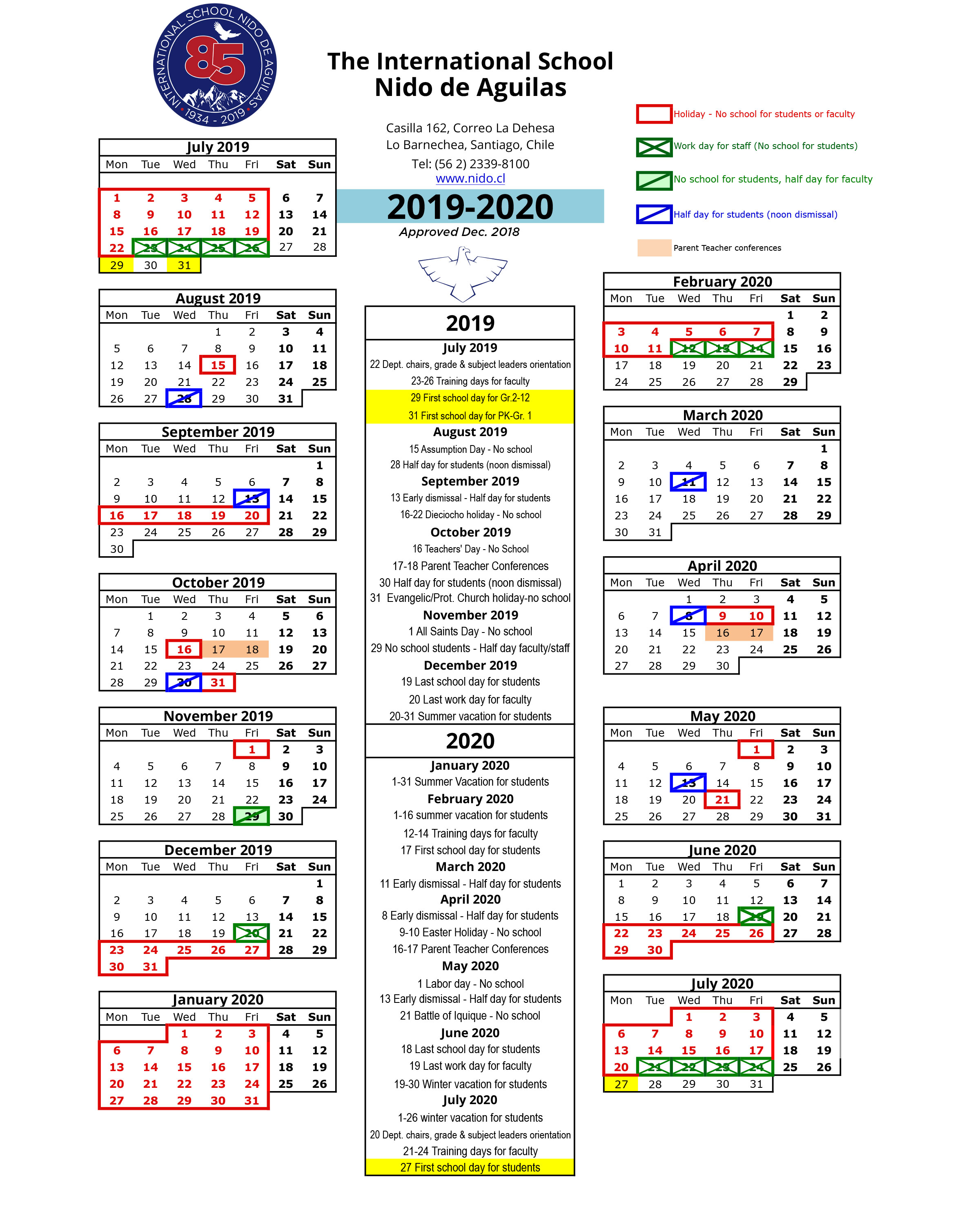 Calendario Chile 2019 Feriados.School Year Calendar International School Nido De Aguilas
